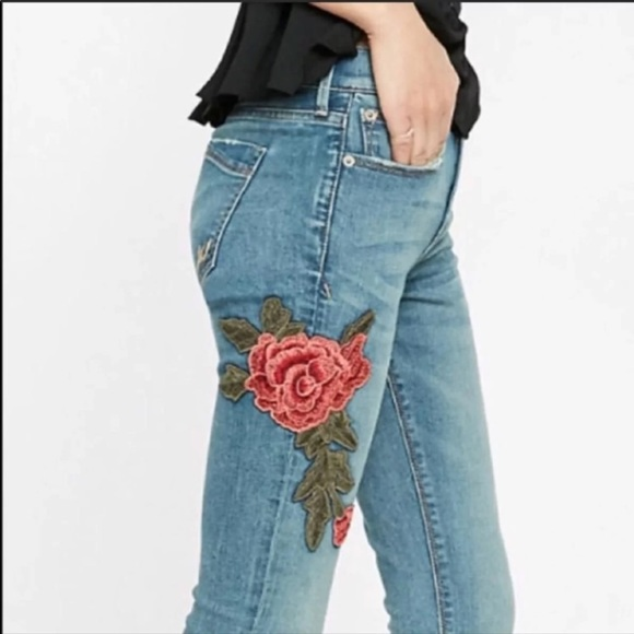 EXPRESS Distress Rose Floral Embroidered Jeans